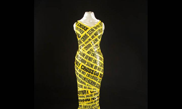 Dress made from crime scene tape Recycle Runway