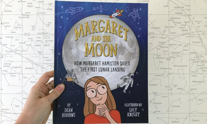 Margaret and the Moon against constellations