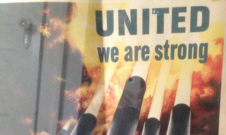 """United we are strong"" war poster with cannons and flags"