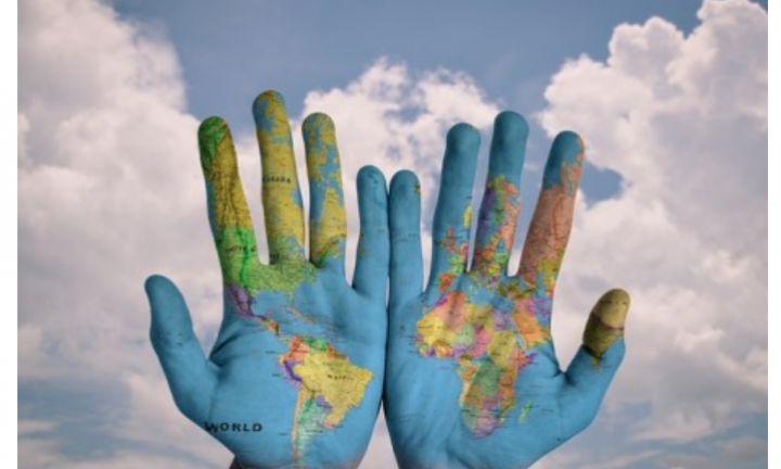 hands as world map